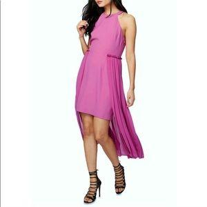 RACHEL ROY pleat halter hi-lo skirt overlay dress
